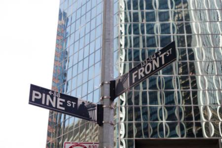 Apts in Financial District - pine & front sign